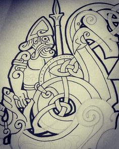 Tyr & Fenrir sketch #customdesign #wolf #fenrir  #tyr  #fenris  #ragnarök #binding #vikingmyth #ArsCeltica #VitorGonzalezArt