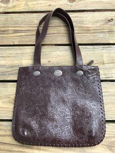 MINNETONKA Espresso Brown Genuine Tooled Leather Conchos Slim Handbag Tote Purse #Minnetonka #TotesShoppers