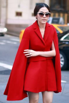 Red alert. See more street style from New York Fashion Week. (Photo: Craig Arend for The New York Times)