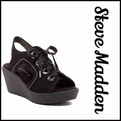 """STEVE MADDEN Platform Leather Sandals High Heels NEW WITH TAGS RETAIL: $138  STEVE MADDEN Platform Chunky Leather Sandals  * Open toe style & strappy lace up vamp  * Approx. 2.5"""" heel & 1"""" platform  * A chunky wedge heel & platform; An urban gladiator silhouette  * Ankle sling back strap  * Silver-tone hardware  * True to size   Material: Leather upper & lining & rubber sole Color: Black Item:   No Trades ✅ Offers Considered*✅  *Please use the blue 'offer' button to submit an offer. Steve…"""