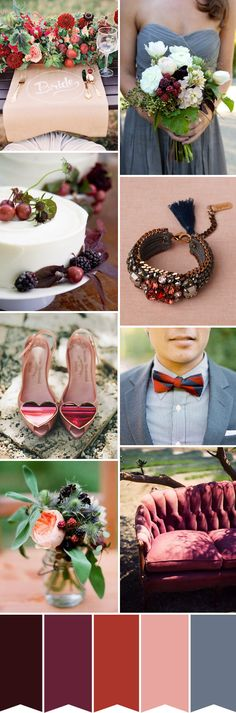 #Autumn Berries Wedding Inspiration - Read more on One Fab Day: http://onefabday.com/autumn-berries-colour-palette/