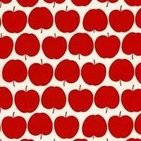 "kokka, heb er een mooi rokje van gemaakt voor mezelf.  this is such a simple motif, but the way the apples are arranged introduces an amusing little ""wiggle"" of movement that keeps me looking."