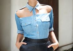 Denim shirt cut-out