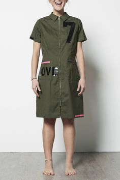 Vintage Work Uniform leftover stock LOLA DARLING Dress Numbers and LOVE logo Printed. Short-sleeved olive green cotton/Terital. Unique. #buy on www.loladarling.com loladarlingirl su Etsy #woman #fashion #fashiondesigner #oneofakind #handmade #madeinitaly #print #love