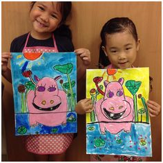 Elementary art- Hippo in a lily pond