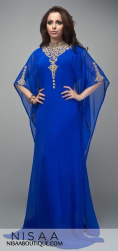 Supernova Blue- A beautifully detailed chiffon dress, is truly a head turner. The dress has unique hand beaded detail embroidery. It comes with a inner layer belt which can be adjusted according to individual size. Length from neckline to hem is between 60-65 inches