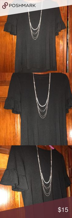 LOFT PETITES BLACK RUFFLE SHIRT (Like new) In great condition! This super cute shirt can be styled in so many different ways! •Will ship ASAP •All offers considered BUT prices are firm UNLESS bundled •No trades, sorry! •Questions? Ask way! •5 star seller •Mix & Match to save! (Any 2 items in my closet are 10% off)  CLOSET EMOJI KEY ♀️= price firm unless bundled =final price drop ✋= mix and match 5/25 LOFT Tops