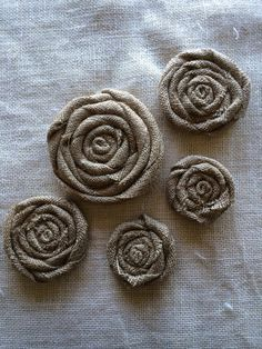 Set of Five Varying Sizes of Tan Burlap Flat Roses, 3, 4 and 5 inches on Etsy, $25.00