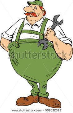 Illustration of a german repairman holding spanner standing viewed from front set on isolated white background done in cartoon style.  #mechanic #cartoon #illustration