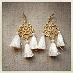 Rita Cream Tassel Earrings