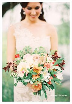 Fall wedding bouquet by Poppies and Posies via @100 Layer Cake