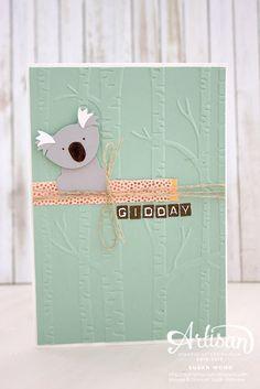 handmade card ... Koala using Foxy Friends ... birch tree embossing folder .. Australian them ... by  Susan Wong