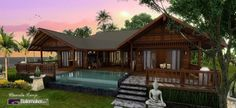 BaleMaker designs incompass the beauty of Tropical designs built in a kit house form. These splended wooden houses are built here at our timber factory in Bali Thai House, Asian House, Modern House Plans, Small House Plans, House Floor Plans, Tropical House Design, Tropical Houses, Tropical Style, Tropical Prints