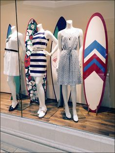 Women Surf Boards at Brook Brothers Main Brooks Brothers Women, Window Display Retail, Surf Boards, Boutique Ideas, Boxer, Nautical, Surfing, Outfit Ideas, Summer