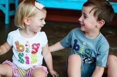 Big Sister Shirt (or Brother) the ORIGINAL on Etsy, Hand Applique Tee, For the new Big Sis or Bro, Great for bringing baby home. $29.95, via Etsy.