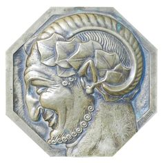 "Art Deco ""Satyr's Head,"" Bronze Medal/Paperweight by Turin"