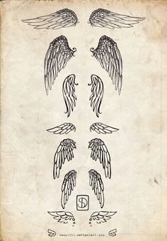 Angel wings tattoo idea - love the bottom one. Either on the wrist or lower back #tattoosonbackshoulder