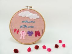 Baby girl nursery decor Embroidery hoop wall art birth gift Welcome little one MADE TO ORDER on Etsy, $30.00