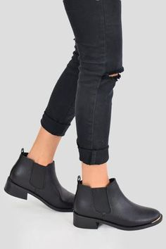 88b51283fa MADAME Flat Chelsea Ankle Boots - Black & Gold PU - AJ Voyage. Lace Up  Block Heel ...