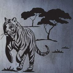 "Style and Apply Wild Tiger Wall Decal Size: 46"" H x 43"" W, Color: Dark Green"