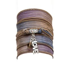 SILK wrap BRACELET, silk ribbon bracelet, hand dyed, with Tibetan Silver Love Charm Pendant and SWAROVSKI crystal