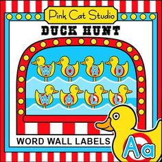 These fun Carnival Duck Hunt theme word wall labels will look fantastic on your kindergarten classroom wall! This set is so versatile because you can make any labels and words that you want with the included blank cards and editable Powerpoint files. Circus Theme Classroom, Classroom Jobs, Classroom Walls, Kindergarten Classroom, Classroom Activities, Classroom Decor, Word Wall Labels, Theme Words, Online Games For Kids