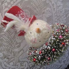 Bottle Brush Wreath Snowman Christmas Decoration With Vintage Mercury Glass Beads