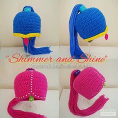 Shimmer and shine crochet wig hat twin by iLovechaRmingYarNs