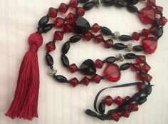 Happymala necklace black and red glass/stone beads by happymala Handmade Jewelry, Unique Jewelry, Handmade Gifts, Alley Cat, Red Glass, Stone Beads, Jewerly, Beaded Necklace, Yoga