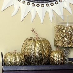 {Halloween Crafts & Decor Collection} brass thumbtacks transform these faux pumpkins into stunning decor by Madigan Made.