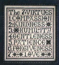 cross stitch pattern : the seven virtues la d da counted cross stitch diy. via Etsy.
