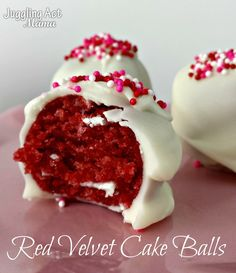 Red Velvet Cake Balls - Deliciously decadent two-bite morsels of red velvet cake, cream cheese frosting and white chocolate via Juggling Act Mama