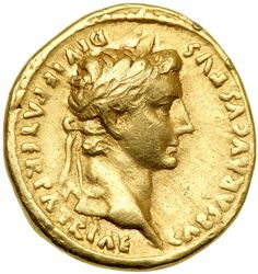 Augustus. Gold Aureus (7.7 g), 27 BC-AD 14. Lugdunum, 2 BC-AD 12. CAESAR AVGVSTVS DIVI F PATER PATRIAE, laureate head of Augustus right. Goldberg Coins and Collectibles