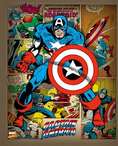 Marvel Comics - Captain America Retro - largest licensed distributor and wholesaler of posters, prints, memorabilia, frames and display units in Australia Poster Marvel, Marvel Comics, Ms Marvel, Bd Comics, Marvel Art, Marvel Heroes, Marvel Characters, Fictional Characters, Captain America Poster