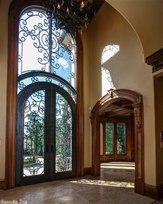 Grand Entrance Door Wrought Iron Ideas For 2019 Main Entrance, Grand Entrance, Entrance Doors, Entry Gates, Doorway, Door Design, Exterior Design, House Design, Grand Foyer