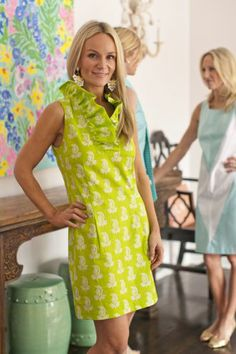 chartreuse/green afternoon dress 1960s