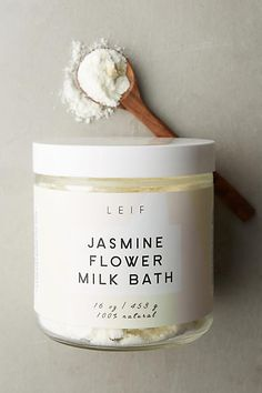 Leif Milk Bath - Jasmine Flower Milk Bath: Featuring dried jasmine blossoms, this relaxing treatment employs jasmine oil, epsom salts and whole milk to ease aches and pains, improve skin's elasticty, hydrate and smoothe.