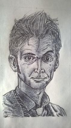 Caricatura David Tennant, alias Doctor Who, penna - Drawing of David Tennant, alias Doctor Who, pen