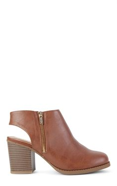 Deb Shops Open Heel Ankle Boot with Side Zipper Detail $28.00