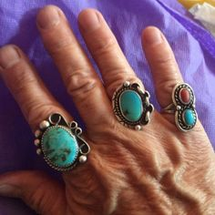Classic and modern. American Indian turquoise and silver Navajo rings. Sure are pretty!