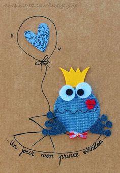 Adorable cards to make! Artisanats Denim, Denim Art, Jean Crafts, Denim Crafts, Recycled Denim, Recycled Crafts, Arte Punch, Denim Ideas, Animal Cards