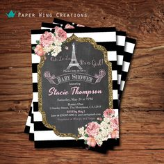 French baby girl shower invitation. Shabby chic pink floral chalkboard, black white stripes Paris eiffel tower baby shower printable B66 on Etsy, $15.00