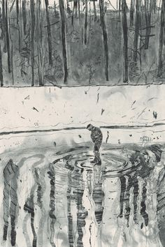 """Peter Doig """"Blotter"""", 1996 From the portfolio """"Ten Etchings"""". Peter Doig, Running Art, Etching Prints, Magic Realism, Painting & Drawing, Encaustic Painting, Gravure, Art Fair, Contemporary Paintings"""