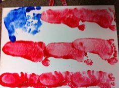 Handprint & Footprint American Flag on Canvas Board