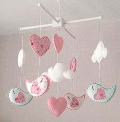 Baby Mobile, Birds, hearts and Clouds, cot mobile, baby girl nursery decor.