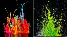 splatters of paint made to jump by music played from a speaker mounted below them, created by Artist Martin Klimas.