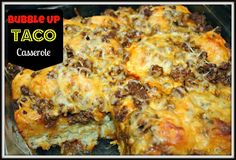 Bubble-Up Taco Casserole | It's amazing what you can do with canned biscuits, ground beef, and cheese. This easy casserole recipe is perfect for weeknight dinners when you don't feel like cooking.