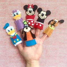 Handmade and Hand-Stitched Mickey Mouse Clubhouse Finger Puppets your children will love. Perfect for quiet playtime! Includes 6finger puppets: