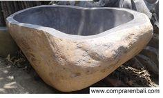 bañera aximetrica vaciado de piedra de rio Diseño, producción y fabricación por www.comprarenbali.com