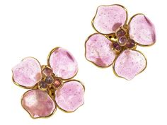 Chanel Pink Poured Glass Floral Gripoix Earrings Available At Designer Vault